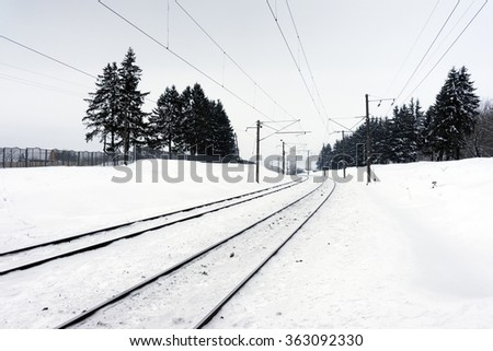 Railway in the winter the trees - stock photo