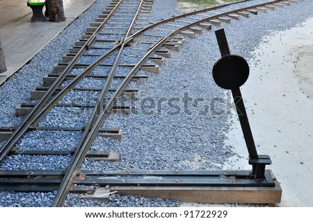 railway junction and switch - stock photo