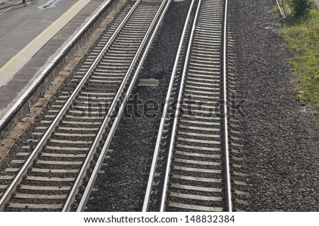 Railway Line Tracks and Station Platform