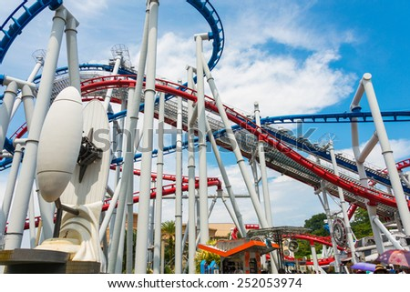 Railway of roller coaster in amusement park - stock photo