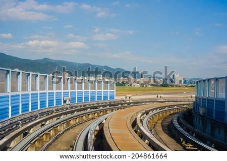 railway of taipei metro - stock photo