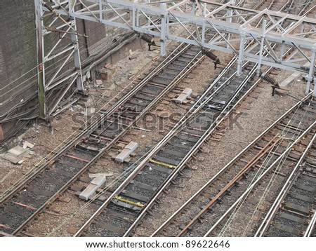 Railway or railroad tracks for train transportation