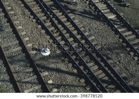 Railway or railroad tracks for train transportation. View from above