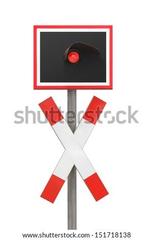 Railway railroad crossing warning cross sign germany - stock photo