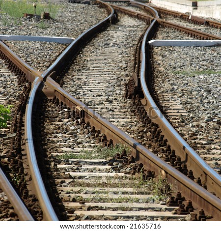 Railway railroad track with junction