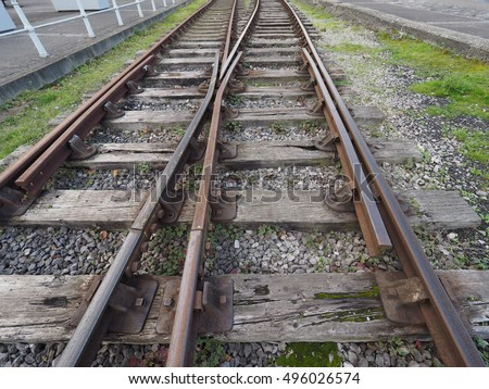 Railway railroad tracks for train public transport