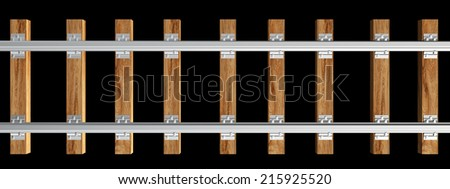 railway. realistic. isolated on black background. 3d illustration