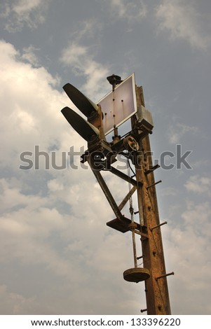 Railway signals  Old rusted grunge railroad green light signal, - stock photo