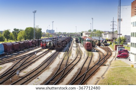 Railway station and cargo train. Narva. Estonia - stock photo
