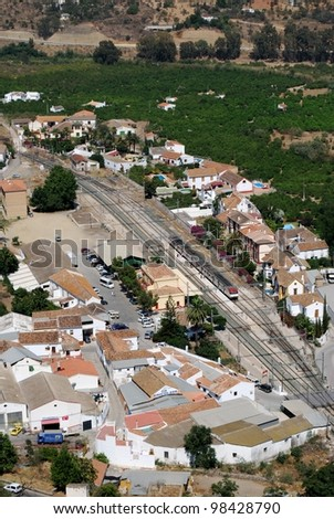 Railway station and surrounding countryside seen from the castle, Alora, Malaga Province, Andalusia, Spain, Western Europe. - stock photo