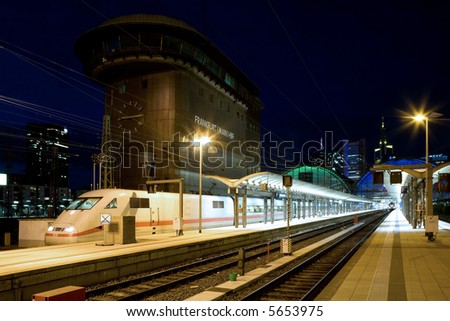railway station Frankfurt at night