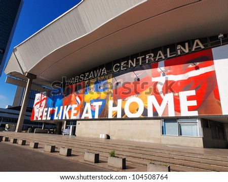 RAILWAY STATION IN WARSAW, POLAND - JUNE 7: Railway Station on June 7, 2012. Warsaw will host the opening match of the UEFA Euro 2012.