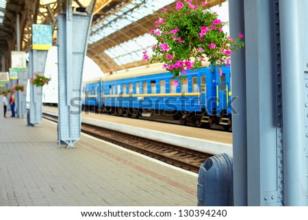 railway station. Lviv, Ukraine - stock photo