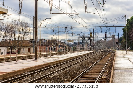 Railway station of Arles - France, Provence-Alpes-Cote d'Azur - stock photo