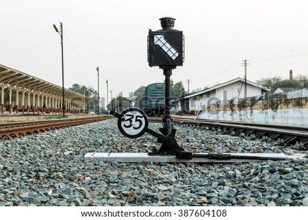 Railway station sign - stock photo