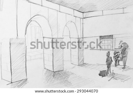 Railway station, sketch of pencil - stock photo