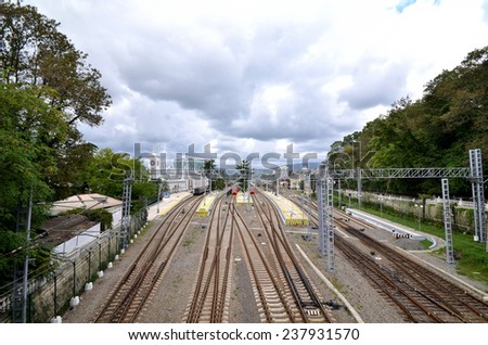 RAILWAY STATION, SOCHI, RUSSIA SEPTEMBER, 2014: View of the railway station of the city of Sochi, Russia - stock photo