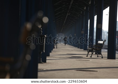 railway station with free bench at morning  - stock photo