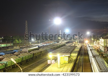 railway station with freight trains
