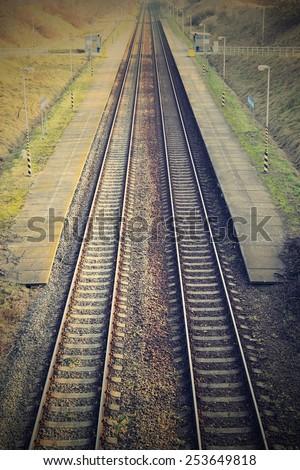 Railway station with platform - train tracks - train Station. - stock photo