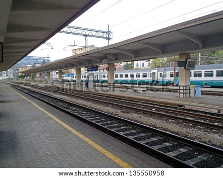 Railway station with train. Italy