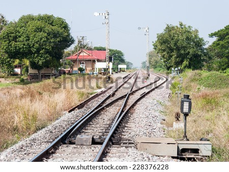 Railway station yard in the rural of Thailand. - stock photo