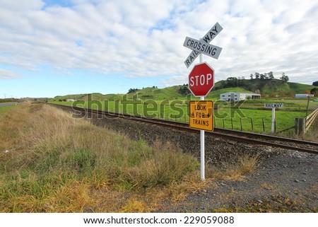 Railway stop sign - stock photo