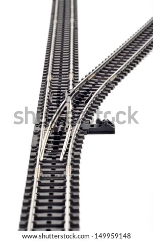 Railway switch - right - stock photo