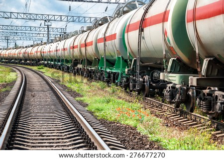 Railway tanks with oil at day - stock photo