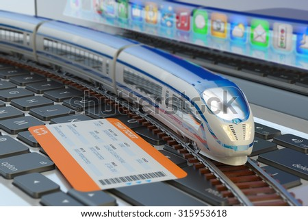 Railway ticket booking via internet or mobile application and railroad travel concept, train ticket and modern high speed passenger train on laptop keyboard - stock photo