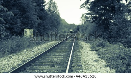 Railway Track black and white - stock photo