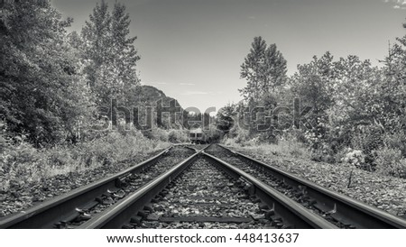 Railway Track black and white