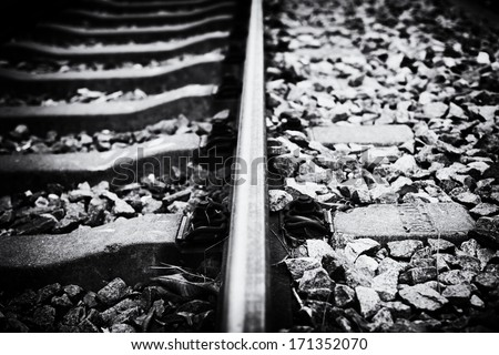 railway track black and white retrospective style