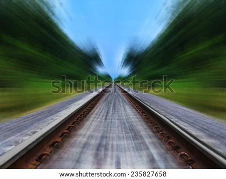 Railway track blurred - stock photo