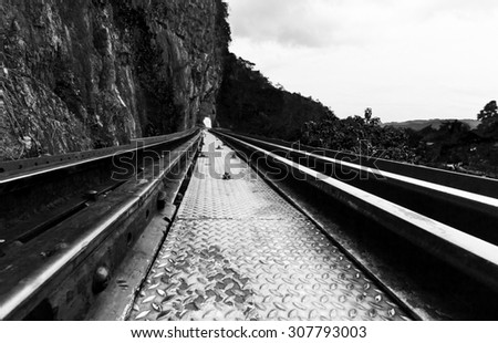 Railway track in black and white, retro style