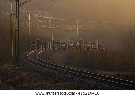 Railway track in the curve.
