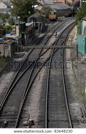 Railway Track Junction in Swange, Dorset, England, UK - stock photo