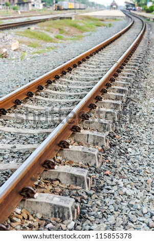 Railway track near the railroad station - stock photo