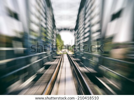 railway track on bridge blurred,speed background,train speed concept - stock photo