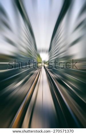 railway track on bridge blurred,speed background,train speed concept  - stock photo