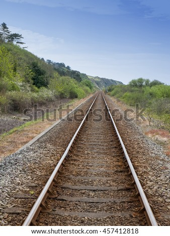Railway track through countryside UK