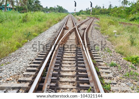 Railway Tracks and Switch - stock photo