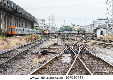 Railway Tracks and Switch near Hualumpong train Station. - stock photo