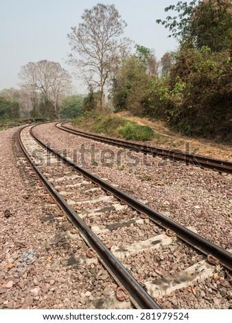Railway Tracks at Mae Tan Noi Station, Thailand - stock photo