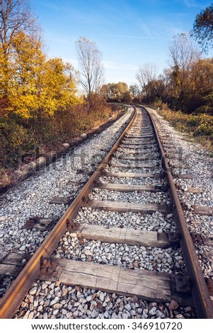Railway tracks in the woods, leading into the frame - stock photo