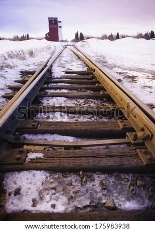 Railway Tracks In Winter - stock photo