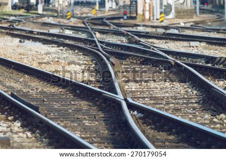 Railway tracks on a sunny day - stock photo