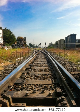 Railway tracks with blue sky in the evening,Thailand