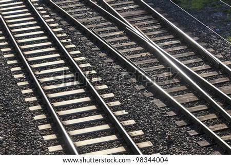 railway tracks  with crossing