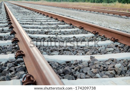 Railway Tracks with no Trains on Them Close-up - stock photo